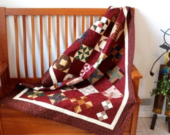 Patchwork Quilted Lap Throw  Farmers Wife Sampler Quilt  Farm House Decor Wedding Gift Dorm Quilt Fiber Art Quilts for Sale Christmas quilts