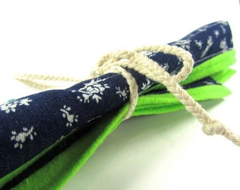Four Straw Pouch- White Floral Pattern on Blue Denim with Bright Green Fleece Interior