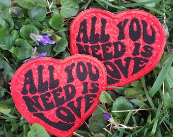 MADE TO ORDER All You Need Is Love handmade heart patch, The Beatles, John Lennon, rock and roll, hippie, festival, tour, boho