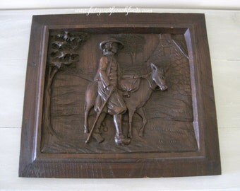 Antique French Hand Carved Oak Panel Of Country Scene One Piece of Oak