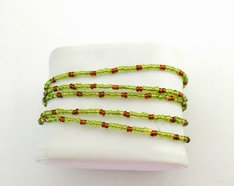 wrapped beaded Bracelet/Necklace, retro Inspired,green  beads, Hand Made in The USA, Item No. De227