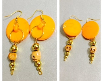 Round Orange Earrings, Skeleton, Gold Tone Post, Large Button, Halloween Accessory, Item No. De312