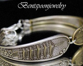 Spoon Bracelet Vintage Pagoda Bracelet upcycled Silverware Jewelry