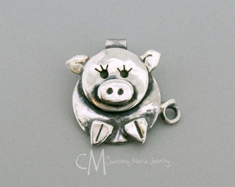Little Pig Pendant - Little Girl Pendant - Sterling Silver Pig Pendant - Animal Necklace - Handmade Jewelry - Artisan Jewelry - Metal Smith