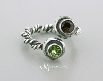 Two stone Ring - Two Birthstone Ring - Dual Stone Ring - Gemstone Ring - Mom Ring - Push Present - Adjustable Ring - 2 stone ring