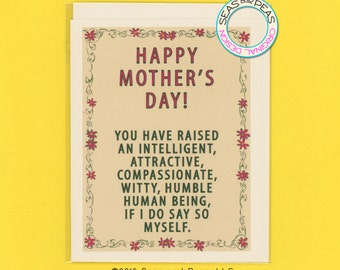 GOOD JOB MOM - Funny Mother's Day Card - Funny Mom Card - Funny Mum Card - Mother's Day Card - Funny Card - Card for Mom - Card - Item# P017