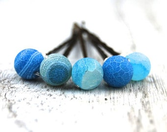 Bobby Pins | Frosted agate bobby pins | Blue agate gemstone bobby pins | Hair pin | Hair accessory | Prom Hair | Hair Jewelry | Hair bling