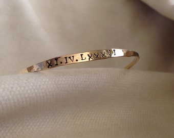 Personalized Bangle Hammered Bracelets Available in Rose Gold Filled, Yellow Gold Filled and Sterling Silver. Custom.Fun.The Bleu Giraffe