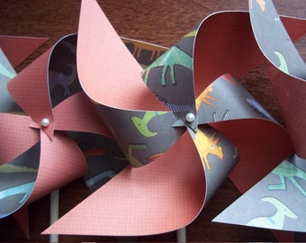 Dinosaur Paper Pinwheels. Boy Shower or Nursery Decor. (set of 10 large)