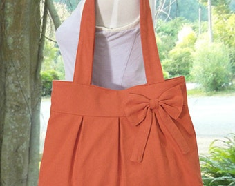 orange cotton fabric purse with bow / canvas tote bag / shoulder bag / hand bag / diaper bag - zipper closure