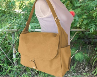 Yellow canvas shoulder bag, messenger bag, diaper bag, travel bag for women