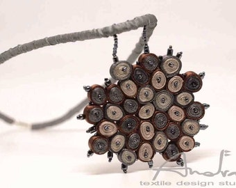 Textile necklace grey, statement necklace, bib necklace - Handmade textile jewelry OOAK for order