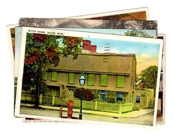5 Vintage Salem Massachusetts Postcards Used