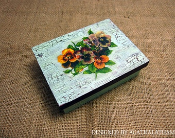 Decorative wooden jewelry box with distressed craqueled finish and decoupage beautiful flowers