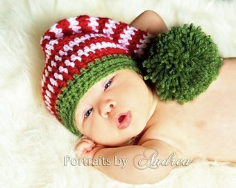 Baby Christmas Hat - Stocking Hat - Elf Hat - Newborn Christmas Hats - Baby Christmas Hats  -  Large Pom Pom - Beautiful  Photo Prop