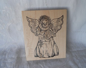 Extra Large  Angel Stamp by Northwoods Rubber Stamps, Inc- 2000 - NEW  Unused Musical Christmas Angel Stamp playing a Lute - Ready to Ship