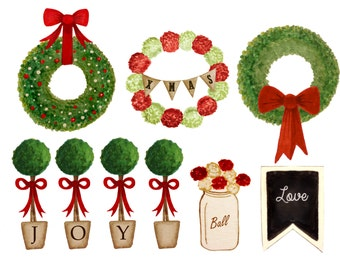 Christmas watercolor clipart, christmas planner stickers, christmas wreath clipart, christmas scrapbook clipart, topiary clipart, mason jar