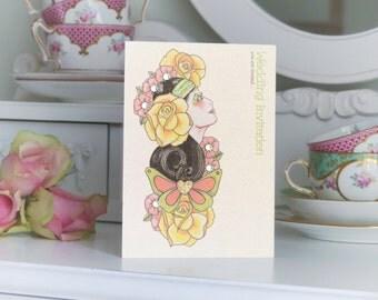 Pack of 10 Tattoo Style Flower Girl Handmade Wedding Invitations