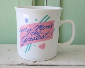 Vintage MOM Coffee Mug....tea. drink. retro housewares. mothers day. 1 mom. for her. kitschy. coffee. 1970s. birthday. mother. ma. birthday