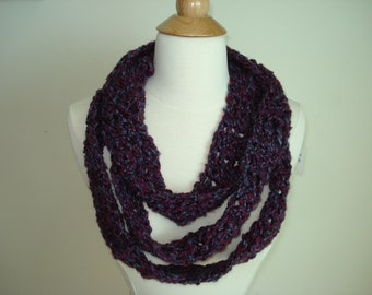 Handmade Classic Thin Crochet Scarf in a Purple Color mix
