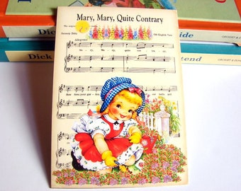 Small Ready to Frame Print * Mary Mary Quite Contrary Girl Garden Mother Goose Nursery Rhyme Sheet Music Baby Toddler Kids Room Home Decor