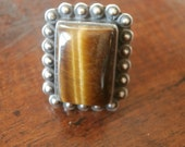 Sterling Tiger Eye Ring Size 6