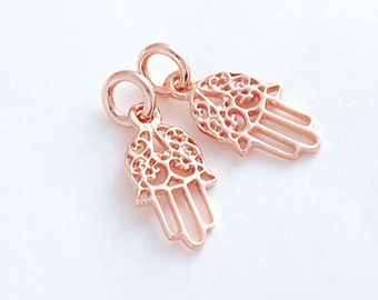 2 of 925 Sterling Silver Rose Gold Vermeil Style Little Hamsa , Hand Of Fatima Charms 7x12.5 mm.  :pg0077