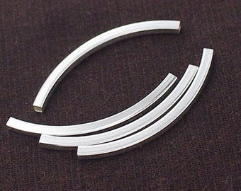 4 of 925 Sterling Silver Curve Square Tube Beads 2.5x40 mm. :th2104