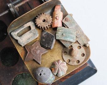 Lot of 10 antique parts, plates, connectors, findings, parts, dark  patina