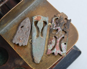 Set of 3 Antique metal plates, pendants, charms, connector, finding, dark patina