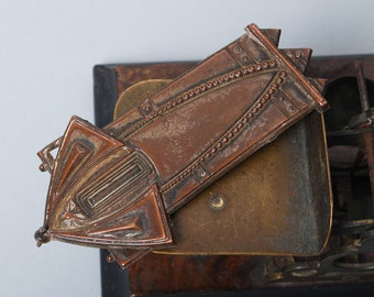 Antique brass plate, photo album cover decor, embellishment, finding Art Nouveau,