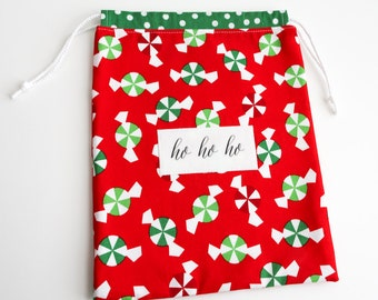 Reusable Christmas Gift Bag - Party Favor - Treat Bag - fabric and reusable - eco friendly