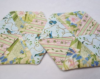 Hexagon Pinwheel Potholders (Set of 2)  -  Floral in pink, blue and green
