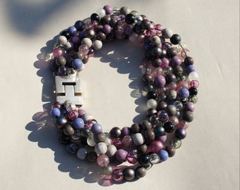 Handmade statement necklace with hollow glass beads in pink, grey and black