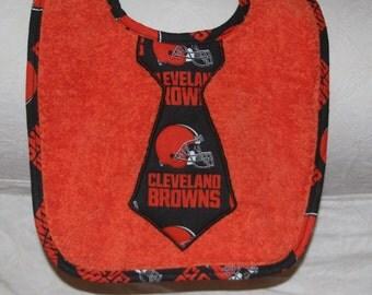 Cleveland Browns Baby Boy Tie Bib on an Orange Bib with Cleveland Browns Trim for NFL Cleveland Browns Football Baby Cleveland Baby Boy