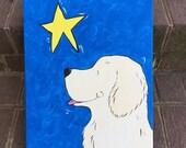 "whimsical golden retriever 11x14 original canvas ""Make a Wish"" custom your breed"
