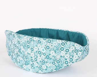 Teal and White Buttons Cat Canoe Modern Kitty Bed