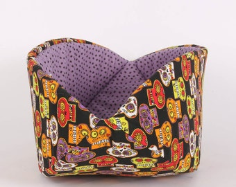 Day of the Dead Pet Bed made in Sugar Skulls and Spiders fabric - the Cat Canoe