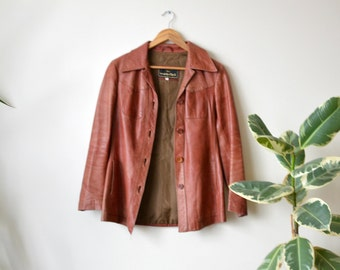 Vintage Leather Jacket Red Brown Vintage Coat Women Size 36 Small
