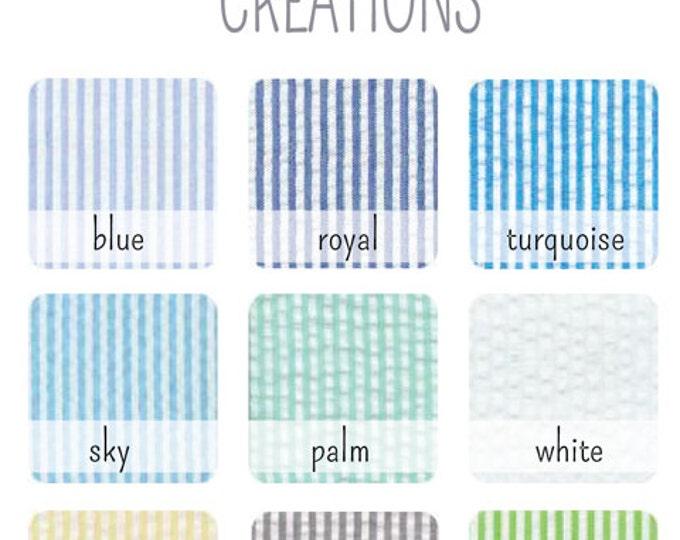Choose ONE Seersucker Cotton Fabric Swatch - Bowties, Neckties, Suspenders Custom Wedding Orders - Swatch Only