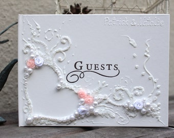 """Personalized wedding guest book, 11""""x 10"""" with pen or6""""x8.5""""no pen, decorated with blush pink roses and white pearls, heart shape design"""
