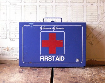 Vintage Wall Mount Blue First Aid Kit - Johnson & Johnson