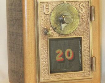 Post Office Door Bank No 20 - Barn Wood - 1896 Dial and Point Door by Eagle Lock Co - Free Shipping