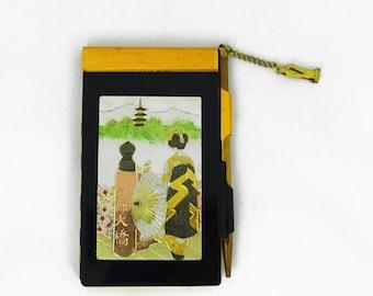 ON SALE Vintage mid century Japanese ladies metal memo pad and pencil