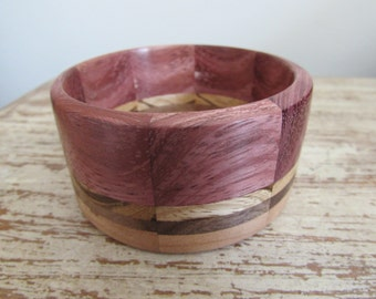 Handmade Segmented Wood Chunky Bracelet Bangle