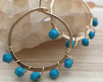 Turquoise Wrapped Gold Hoop Earrings, Turquoise Stone Earrings, Gold Hoops, Wire Wrapped, Natural Turquoise Hoop Earrings, Beaded Hoops