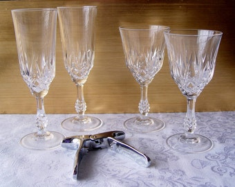 Champagne Key Opener & 2 Crystal Champagne Glasses and 2 Wine Cordial Glasses
