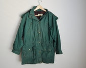 Vintage Eddie Bauer Forest Green Parka Jacket Hooded Wool Lined // womens medium