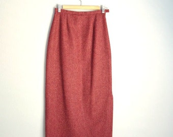 Vintage 80s Laura Ashley Burgundy Red Purple TWEED Wool Long Skirt // womens small ~ size 0/2/4