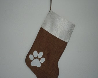 Tobacco Brown Linen Christmas Stocking with Off White Cat Paw Applique and Cuff